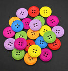 50pcs Large Mixed Wooden Buttons 25mm 4 Holes Cloths Decor Sewing Crafts DIY