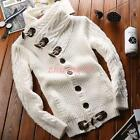 Mens Thin/Thicken lapel Spring Winter knitwear Coat Loose Sweater Fashion Black