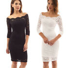 Ladies Sexy Lace Long Sleeve Dresses Cocktail Evening Party Gown Black/White
