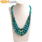 "8-12mm Stone Beads Jewelry Beaded Princess Necklace For Mom 19""  With Gift Box"