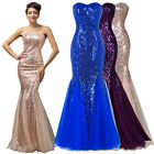 Sequined Lady Mermaid Long Prom Pageant Bridesmaid Wedding Formal Party Dresses