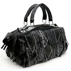 Crocodile embossed Green tassel micro rhinestone pockets shoulder handbag Bag