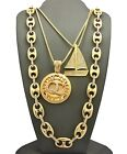 """Hip Hop Pave Sailboat, QC with 24"""", 27"""" Box Chain & Marina Chain 3 Necklace Set"""