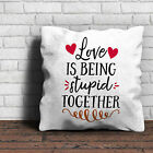 Love Is Being Stupid Together Cushion - Love Valentines Gift Home
