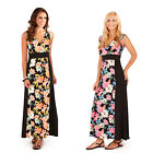 Pistachio Womens Tropical Flower Maxi Ladies Long Summer Colour Block Dress