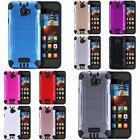 For Coolpad Catalyst 3623A Premium Brushed Metal HYBRID Rubber Case Phone Cover