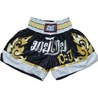 BLACK '10YR' DUO GEAR MUAY THAI SHORTS KICKBOXPANT THAIBOXPANT *UK SELLER*
