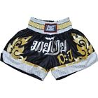 BLACK DUO '10YR' MUAY THAI BOXING FIGHTER TRUNKS