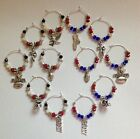 wine glass charms SUPER BOWL 2017 Patriots vs Falcons set of 6