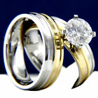 New 2 PC Women's Engagement Stainless Steel 2.04 CT Wedding Bridal Band Ring Set