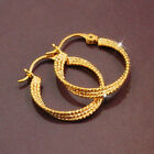 Large 3-Rings Twisted 18k Yellow Gold Filled GF Solid Hoop Earrings 28MM Unisex
