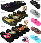 Womens Flip Flops Wedge Thong Sandals Studded strap Platform Wedge Heel Shoes