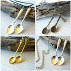 2x Pair Of Mini SPOON Festival Party Pendants Necklace Set Best Friends His Hers