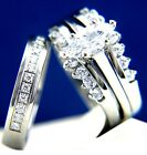 Engagement Ring Womens Stainless Steel Simulated Diamond Wedding Band Set