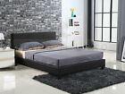 New Double Bed Frame White And Black Luxury PU Leather Grey Fabric Steel Beam