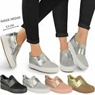 Womens Ladies Flat Slip On Plimsolls Pumps Shoes Skater Trainers Wedges Size 3-8