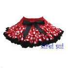 Minnie Mouse Red White Polka Dots Black Ruffles Pettiskirt Party Tutu 1-7Y WS273