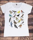 Womens White Tee British Indie Bird Watching,Twitchers,Bird names Print TS577