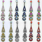 """ICON 2"""" PINK BLUE MULTI GOLD BLACK RED CRYSTAL DROP CUSHION SILVER EARRINGS NEW"""