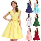 Housewife Retro Vintage Style Cotton Picnic Party Mother of the Bride 50's Dress