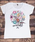 Women's White T-Shirt British Indie Bird Watching,Twitchers, Birds Print TS587