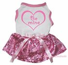 Be Mine Heart Valentine White Top Light Pink Bling Sequins Pet Dog Puppy Dress