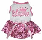Princess Valentine White Top Light Pink Bling Sequins Pet Dog Puppy Cat Dress