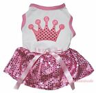 Crown Valentine White Top Light Pink Bling Sequins Skirt Pet Dog Puppy Cat Dress