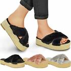 Womens Ladies Chunky Flat Sandals Slip On Sliders Fur Flatforms Espadrilles Size