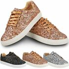 Womens Ladies Flat Lace Up Glitter Sparkly Trainers Sneakers Pumps Shoes Size