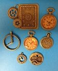 7 ANTIQUE BRONZE METAL CLOCK CHARMS CARD MAKING JEWELLERY CRAFT EMBELLISHMENTS
