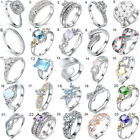Women 925 Sterling Silver Jewelry Filled Wedding Engagement Wedding Fashion Ring