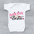 Personalised Auntie Is My Bestie Girls, Cute Baby Grow Body Suit Vest