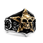 New Man's Stainless Steel ring Pentacle Skull Rose Titanium steel Rings A425