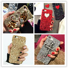 For iPhone 6 Plus 7 GLITTER Cute Cartoon Bling Heart Crystal Sparkle Case Cover