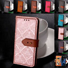 Genuine Leather Flip Wallet Painted Case Cover Card Holder For Samsung Galaxy