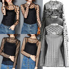 UK Sexy Women Ladies Long Sleeve Hollow Out Perspective Lace Blouse T-Shirt Tops