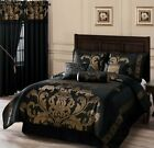 Chezmoi Collection Royale 7-Piece Jacquard Floral Comforter Set or Curtain Set