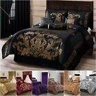 Chezmoi Collection 7pc Jacquard Floral Black/Gold Comforter Set or Curtain Set