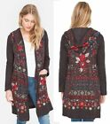 $430 Johnny Was BIYA Embroidered Hooded Long Jacket Cardigan S XL Wrap Hoodie