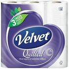 Velvet Triple Quilted Toilet Tissue Roll Paper Thick Soft 3-Ply Sheets Pack of 9