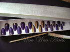 Hand Painted False Nails Full Cover Press on Nails Matte Purple Gold Glitter Box