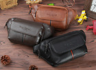 Men Waist Bag Cross Chest Pack Real Genuine cow Leather Pouch black brown 8068