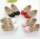 Fashion Toddler Princess Girls Kids Sandals Rivet Buckle T-strap Flat Shoes TB
