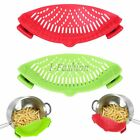 Skillet Pan Strainer Clip-on Silicone Food Drain Sieve Colander Water Filter