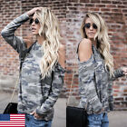 Fashion Women Off Shoulder Camouflage Long Sleeve Shirt Blouse Loose Top T-Shirt