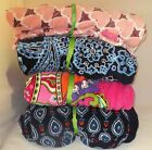 VERA BRADLEY THROW BLANKET PINK SWIRLS BLUE BANDANA NAVY MOTIFS BLUSH HEARTS NEW