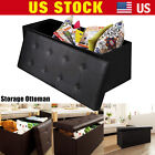 Collapsible Faux Leather Folding Storage Ottoman Bench Cube Foot Rest Stool Seat