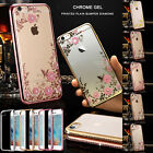 Luxury Crystal Diamond Bling Gel Case TPU Cover For iPhone Samsung Galaxy Phones