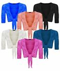 New Women's Ladies Tie Knot 3/4 Sleeve Lace Shrug Plus Size XL XXL XXXL